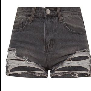 High waisted new gray ripped shots